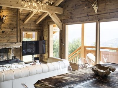 Photo for Superb chalet 4* made of wood and stones, between the chairlift of Les Masses and the gondola of the
