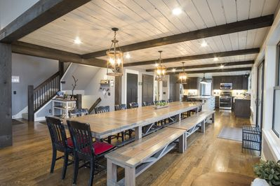 Enjoy food, family and fun at the dining table that stretches over 18 feet!