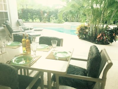 Our outside table seats 6 and enables you to enjoy the pool area for meals.