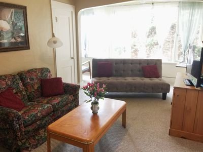 Bright, spacious living room overlooking historic 5th Street.