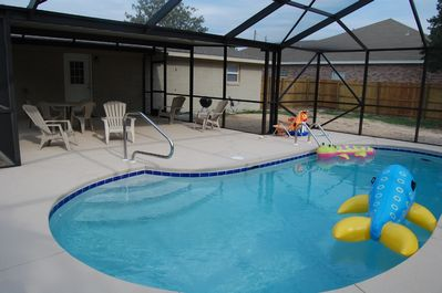 Screen enclosed pool (yes sun does shine thru)