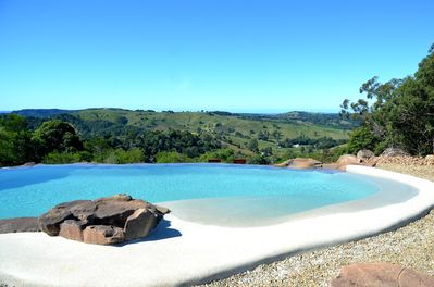 Our waterfall wet edged pools with spectacular views