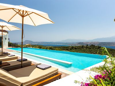 Photo for Cretan luxury reimagined-Brand new stone made private villa overlooking the Sea!