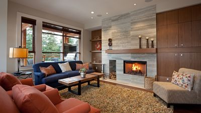 Spacious Living Area with Wood Burning Fireplace