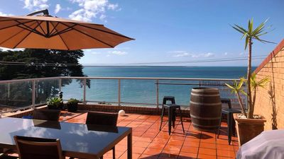 Enjoy the view from the deck overlooking the ocean and The Esplanade!!!