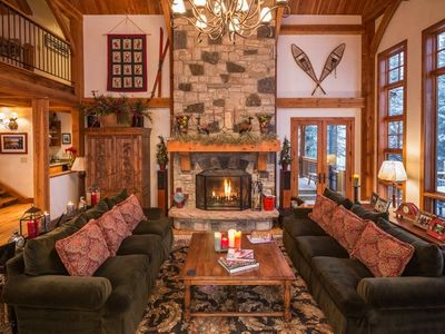 Photo for Luxury log cabin home with every amenity you can think of.  Perfect large group getaway close to ski