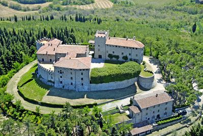 Castello di Montgiove and the guesthouse seen from above.