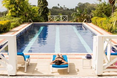 Chilling by the 22 metre pool