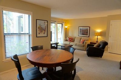 Large living room/dining room area.