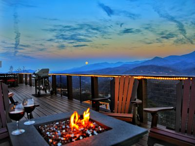 Photo for BRAND NEW Luxury 6BD/6BA Lodge Cabin! 360 Views HUGE Decks, Fire Pits, Theater