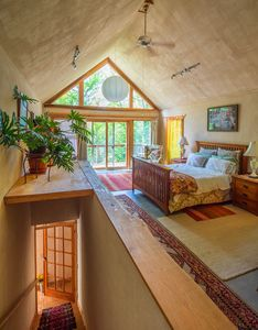 Upstairs bedroom, spacious 16x40 size room with clawfoot tub and private balcony