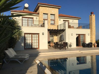 Photo for Large modern private spacious villa with pool.  Panoramic Mountain & Sea Views.