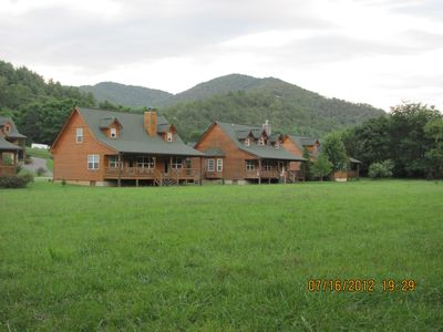 Photo for Riverfront Cabin with Mountain Views,Trout Fishing,Tubing,Pool,   WIFI,Dishwashe