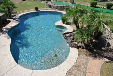 Pool, water feature, putting green