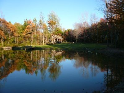 View of the house from the pond.  20 acres of complete privacy.