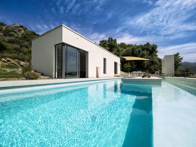 Photo for Modern Villa with private Pool & Views at 10 minutes from sandy beaches!