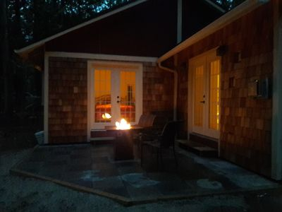The cottage has a fire pit to make your evenings cozy