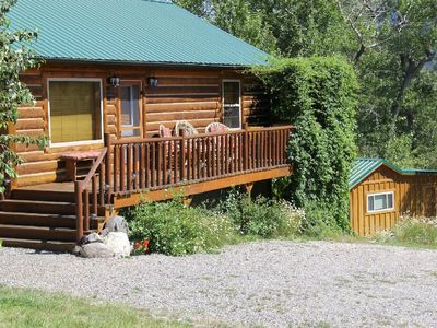 Photo for Log home w/ sleeping cabin - Private mountain setting.