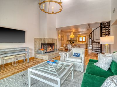 Photo for Chic mountain view condo w/ luxury finishes - near skiing, on bus route!