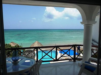Turquoise blue waters and white sand beaches--what a view from our patio!