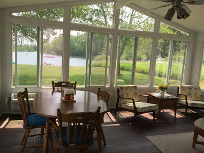 Photo for Lakefront, Sandy Beach, with Sunroom on Lake Lancer