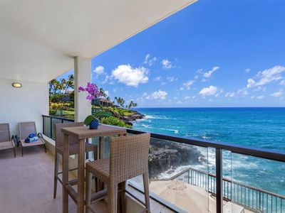Photo for Poipu Shores B202-Second floor 2br/1ba, A/C, remodeled, oceanfront view, private lanai, family pool