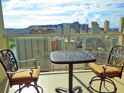 Photo for Clean High Floor Waikiki Condo w/  Large Lanai and Ocean view!!!