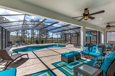 Huge pool area with fabulous views and plenty of outdoor luxury furniture