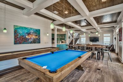 Enjoy quality friends & family time around the Pool table and Shuffleboard table