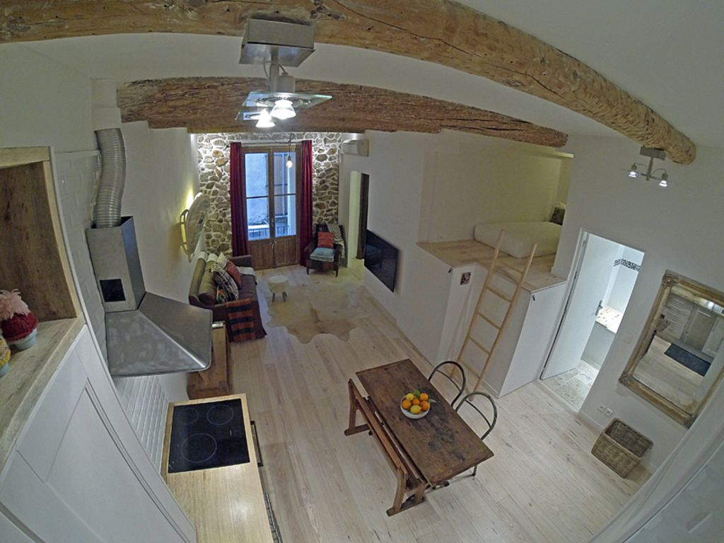 Lounge, kitchen dining area with mezzanine.
