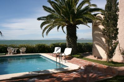 Garden and private swimming pool overlooking the Mar Menor Sea.