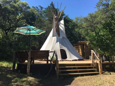 The Tee Pee sits atop a large deck