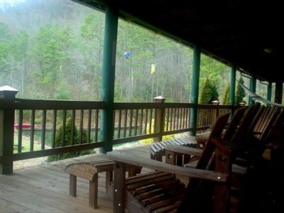 Photo for **Cabin in the mountains....privacy,  huge covered porch, hiking, waterfalls***