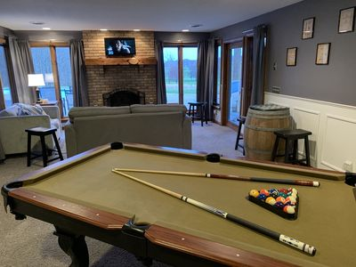 Pool table located on lower level family room.