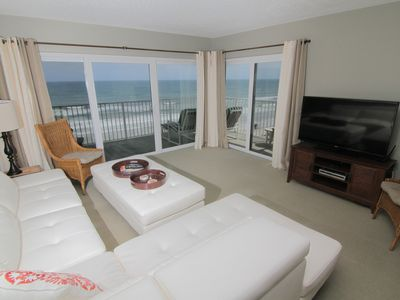 Photo for Chic Beach Gem, 6th Floor Oceanfront Corner Condo With a View, No-Drive Beach