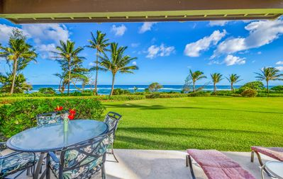 Photo for Kaha Lani Resort #119, Oceanfront, Steps to Beach, Free Wifi and Parking