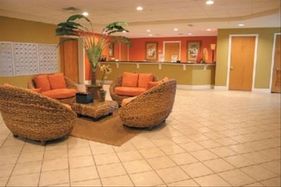 3rd floor lobby with banquet room, fitness room