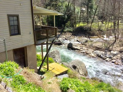 Your rear deck 20 ft above White Water & fork of river