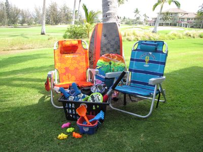 Beach gear includes beach chairs, boogie board, snorkel, fins, and booties.
