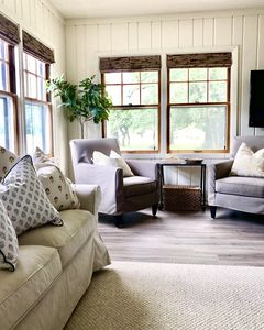 """52"""" TV, comfortable seating for 6, wood stove and views of the oak grove!"""