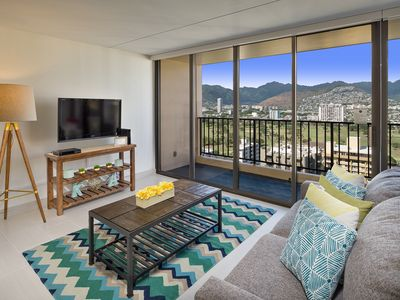 Photo for Magnificent Mountain View At Waikiki Banyan 1Bed/1Bath Free Parking & WiFi