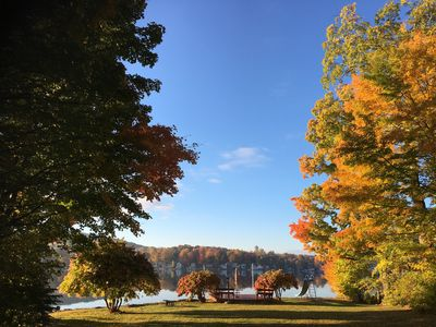 Fall foliage view from the back of the lake house.