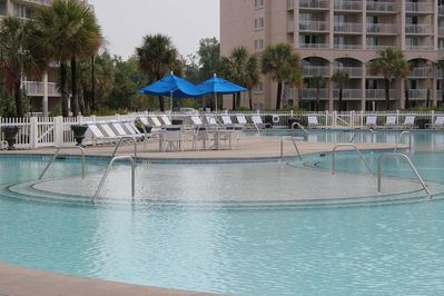 15000 sf private salt water pool for barefoot owners/guests, bar and grill here
