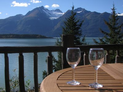 Photo for Paradise West Log Cabin, private wilderness retreat, glacier views, beach access