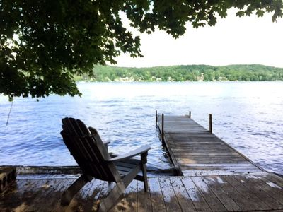 Photo for Copake Lake cottage in the woods with private water side dock