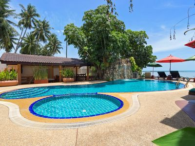 Photo for Peaceful Beachfront 3BRM Pool Villa