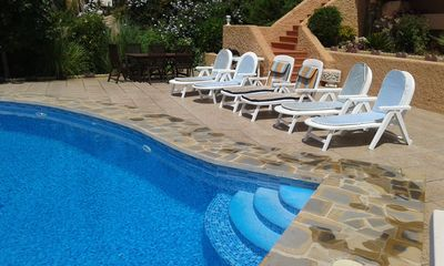 Photo for !!Large Private Villa, Sleeps 10, Free WIFI, Private Pool, BBQ & Sea Views!!