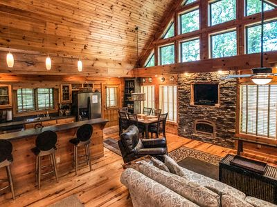 Photo for Large Luxury Blue Ridge Mountain Cabin with Hot Tub and Views,  Large Decks, gas grill.