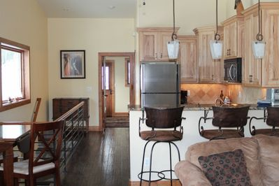 Kitchen and Living area, view to Twin bedroom.