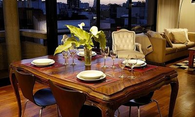 Dining Table - Can be set for party of six.